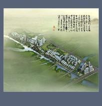 大型河畔小区规划效果鸟瞰图