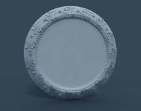 浮雕花纹边框圆形镜子3dmax模型