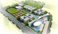 高级大学规划设计俯视效果图PSD