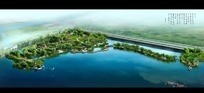湖边园林规划效果图