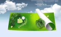卷纸上的绿色草坪和树木