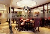 时尚欧式圆顶餐厅3dmax模型图片