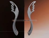 一对简化翅膀造型不锈钢拉手3dmax模型