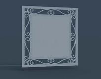 正方形铁艺花纹边框镜子3dmax模型