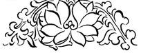 中国古典图案-花朵和卷曲的叶子构成的半圆形图案