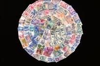 摆成一个圆的世界各国纸币