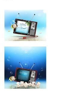 电视/热带鱼/水纹/泡泡构成的两幅矢量图