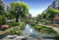 高档小区河道绿化景观效果图