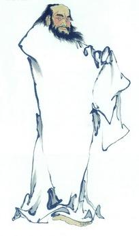 国画白色衣服的古代男人图片