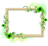 绿色腾条植物装饰框PSD分层素材