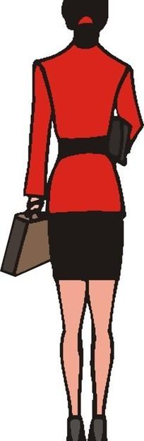 手绘穿着红色衣服的女人背面
