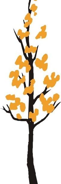 手绘橘色树叶