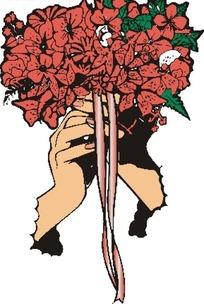 手捧着花朵