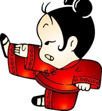 侧踢腿的梳两个髻的穿红衣的女子