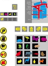 常见标志和动物剪影构成的矢量图