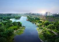 城市周边湖面风景规划效果图