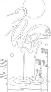 抽象曲线构成的仙鹤构成的花纹图片