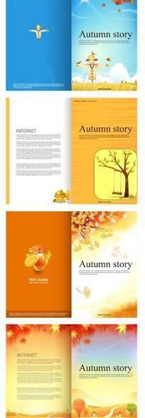 枫叶/树木/银杏叶/栅栏构成的八幅矢量图图片