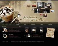韩国怀旧咖啡网页模版psd素材