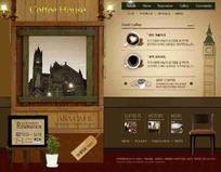 韩国咖啡小屋网页模版PSD素材