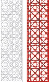 红色简单中式花与线条组合镂空花纹图案CDR素材