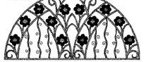 花朵和曲线构成的半圆形图案