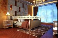 镜子与板错拼床头背景的欧式卧室3dmax模型