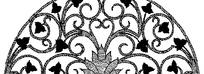 卷曲的藤蔓和掌状三裂叶子构成的半圆形图案