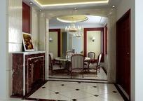 美式风格门厅及餐厅3dmax模型