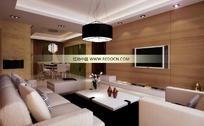 拼板电视背景墙的现代客厅及餐厅3dmax模型