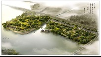 诗情画意的水边公园景观效果图鸟瞰图