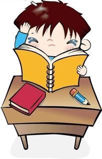 手放头边看书的卡通男孩