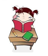 手放头边看书的卡通女孩