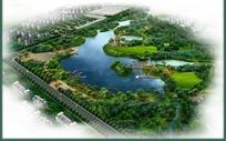 水边公园规划景观效果图鸟瞰图