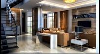 现代简约复式结构玻璃电视墙客厅3dmax模型