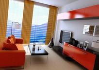 现代组合柜电视背景墙客厅3dmax模型