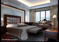 有发光灯带床头背景简约欧式卧室3dmax模型