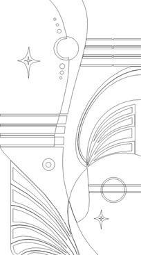 圆形/曲线/线条/星星构成的花纹图片