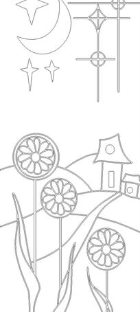 月亮/星星/花朵/房屋构成的花纹图片