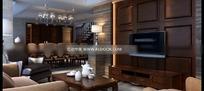 照片级复古美式豪华客厅及餐厅3dmax模型