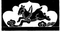 中国古典图案-飞奔的马和云纹构成的图案