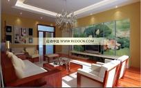 中式荷花屏风电视背景客厅3dmax模型