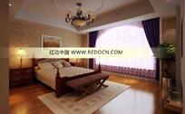 紫色窗纱的欧式卧室3dmax模型
