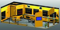 橙色时尚简约产品展厅设计3D模板素材