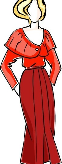 穿红色裙子的女性