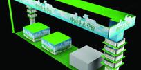 绿色简约唯美展厅设计效果图3D模型素材