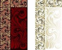 欧式华丽花纹壁纸背景矢量素材