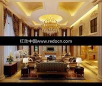 欧式金箔吊顶奢华客厅3dmax模型