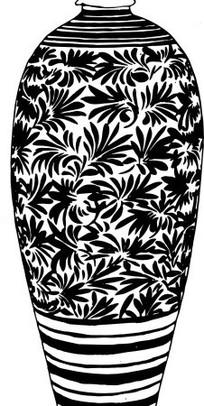 矢量紧口带花纹的陶瓷花瓶