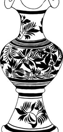 手绘陶瓷花瓶矢量图_传统图案